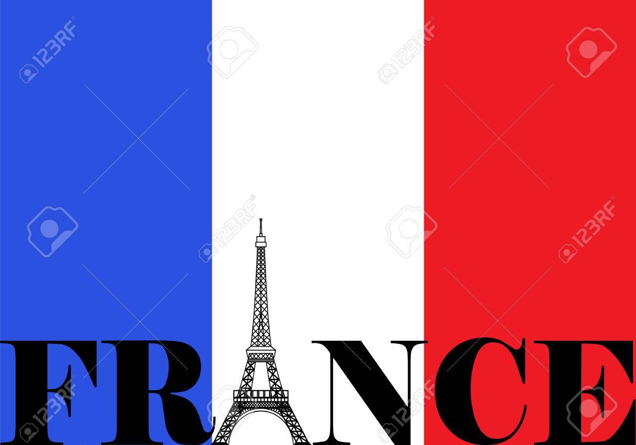 フランスエッフェル塔のシルエットとフランス国旗のイラスト素材
