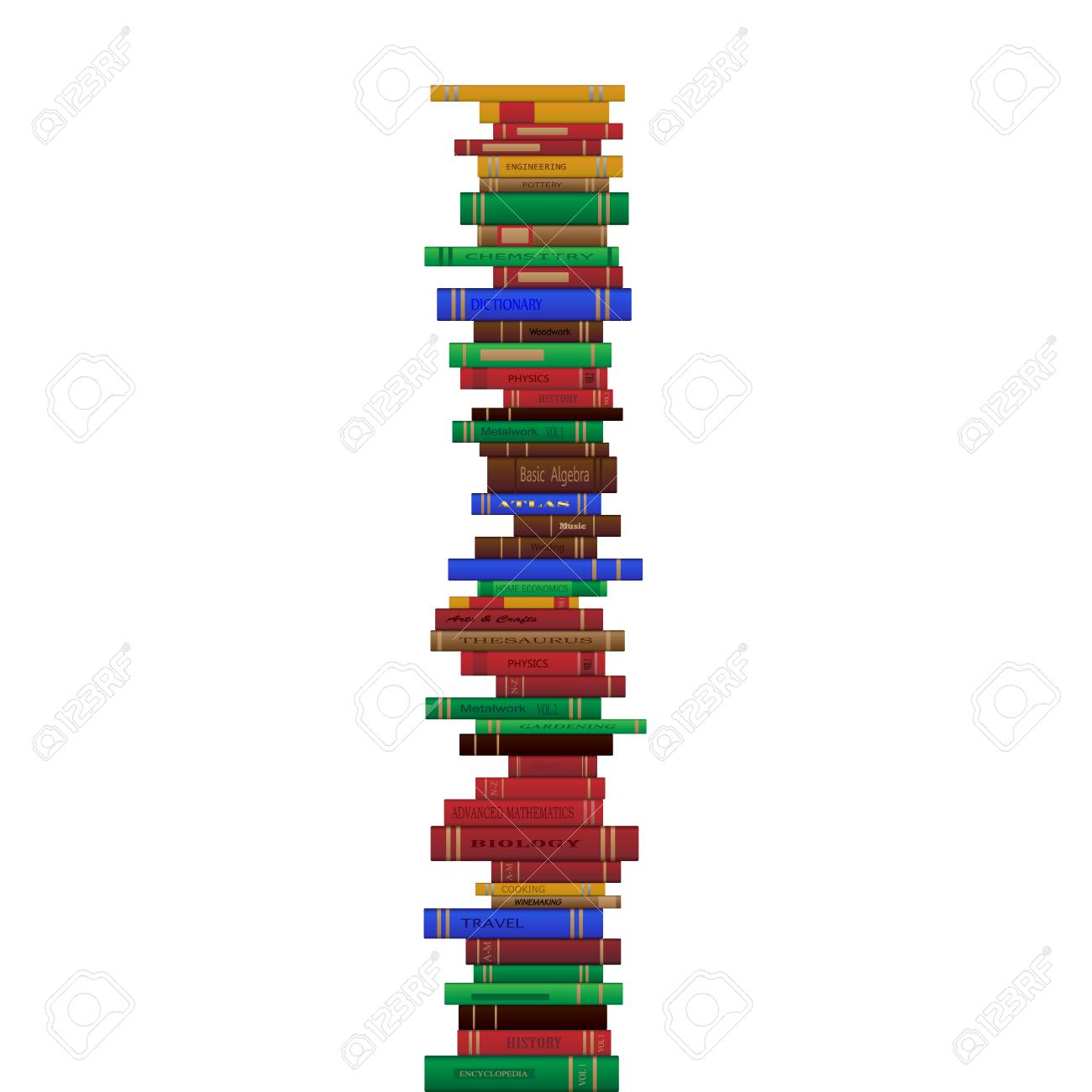 different books in a tall stack illustration royalty free cliparts