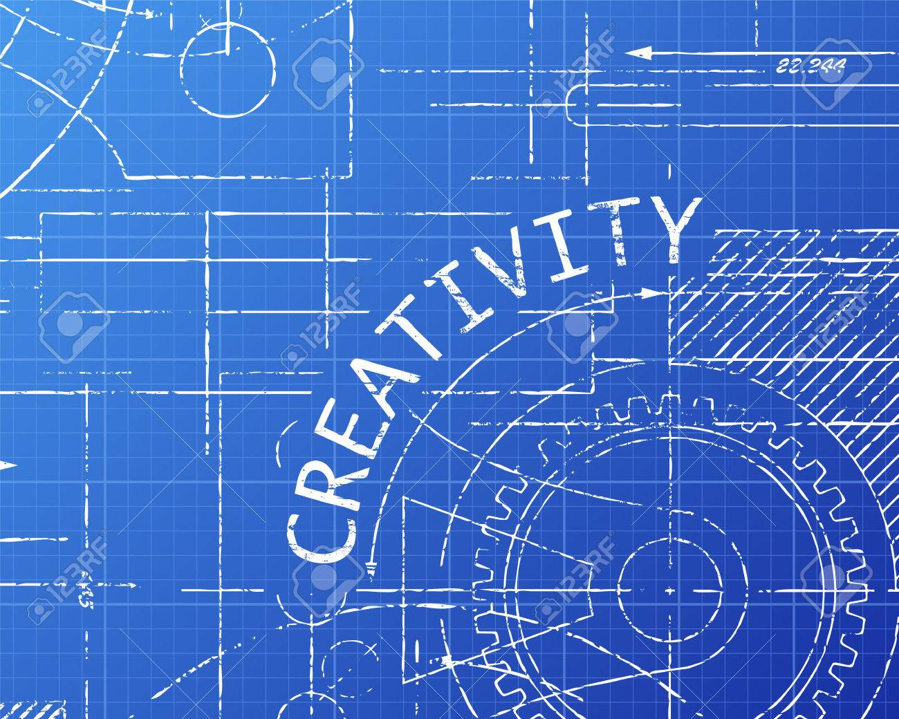 Creativity text with gear wheels hand drawn on blueprint technical creativity text with gear wheels hand drawn on blueprint technical drawing background stock vector 72369812 malvernweather Gallery