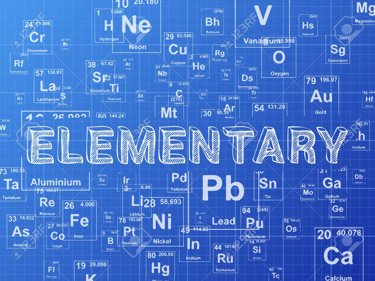 Elementary word on periodic table symbols blueprint background elementary word on periodic table symbols blueprint background stock vector 72661841 malvernweather Choice Image