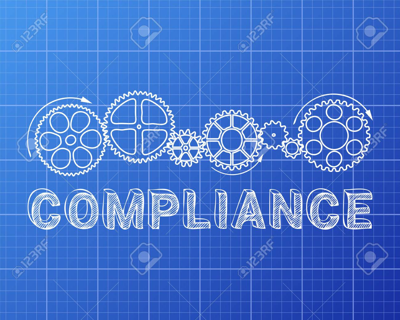 Compliance word with gear wheels on blueprint background compliance word with gear wheels on blueprint background illustration archivio fotografico 72707134 malvernweather Choice Image