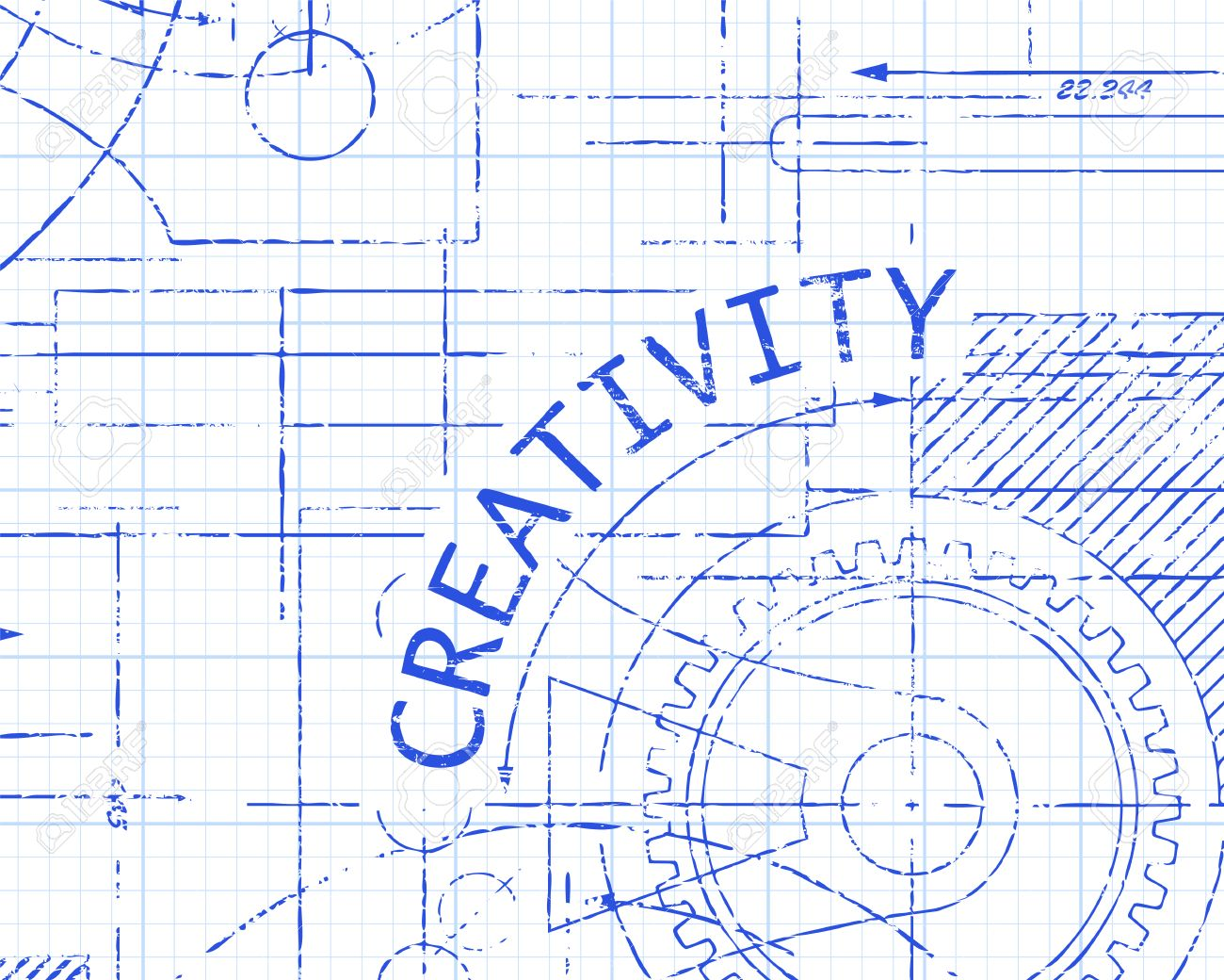 creativity text with gear wheels hand drawn on graph paper technical