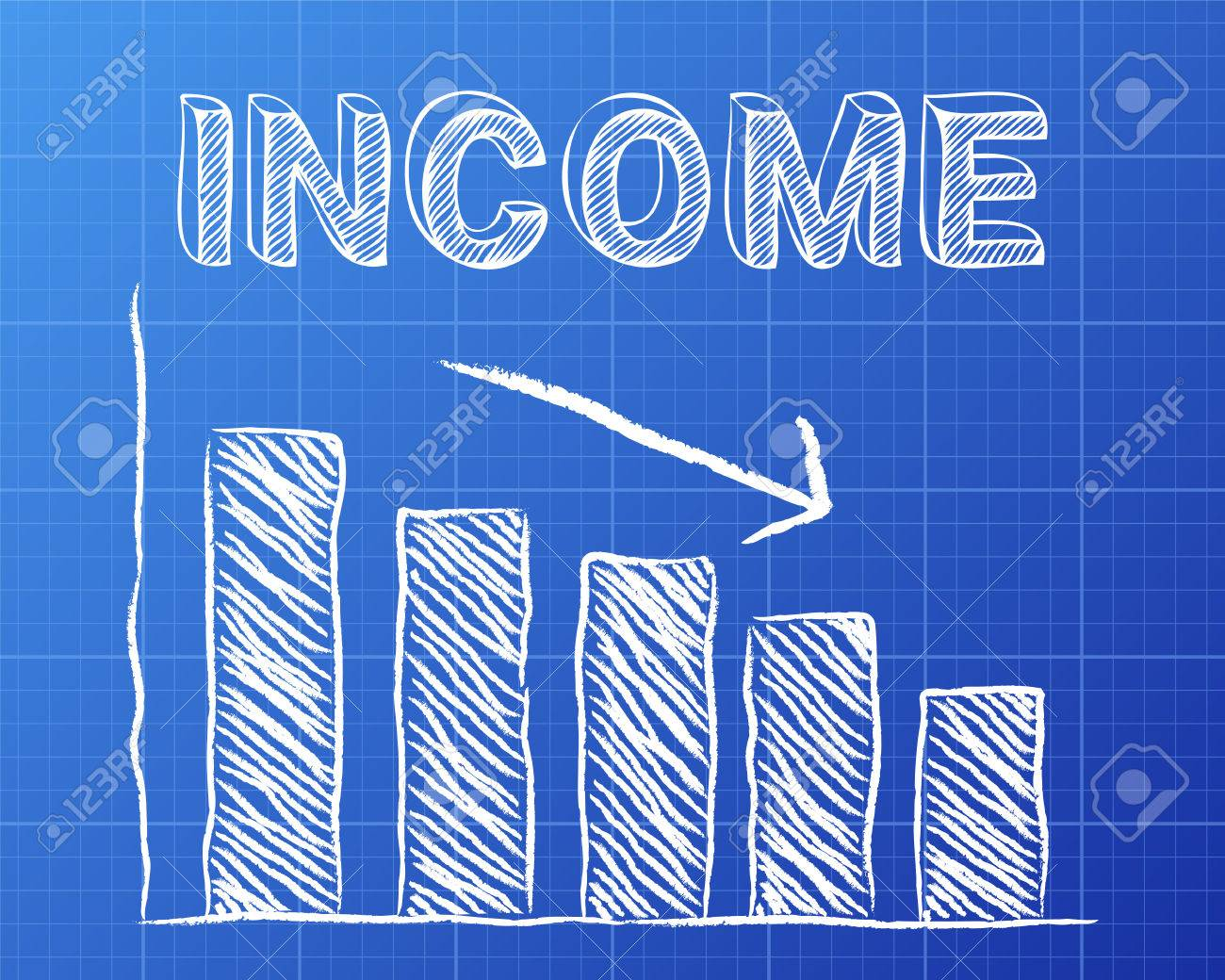 Decreasing graph and income word on blueprint background royalty decreasing graph and income word on blueprint background stock vector 73138363 malvernweather Images