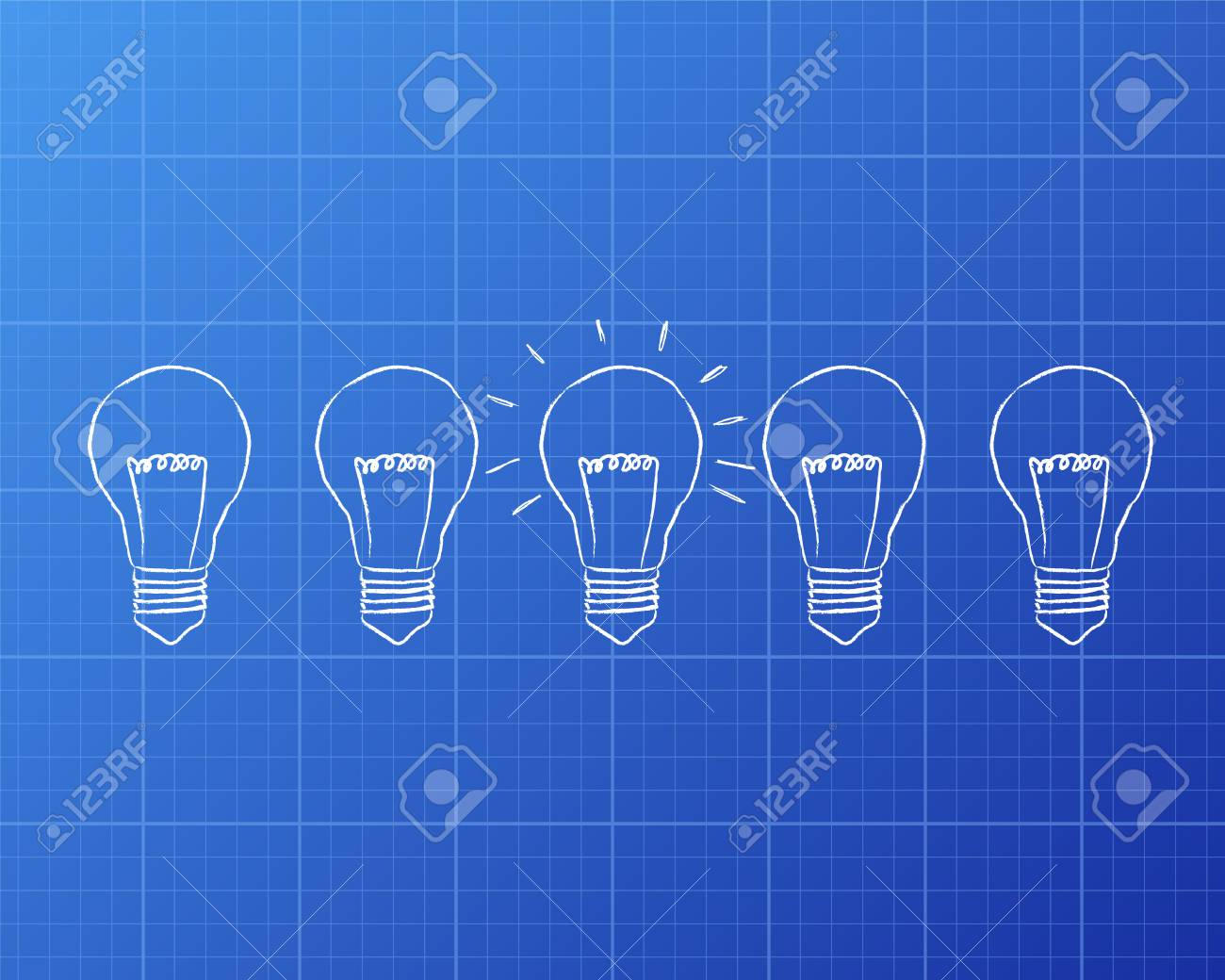 Line of five lights bulbs with middle bulb illuminated on line of five lights bulbs with middle bulb illuminated on blueprint background archivio fotografico 73065888 malvernweather Choice Image