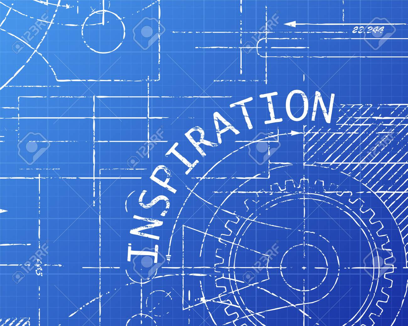 Inspiration text with gear wheels hand drawn on blueprint technical inspiration text with gear wheels hand drawn on blueprint technical drawing background stock vector 74470620 malvernweather Gallery