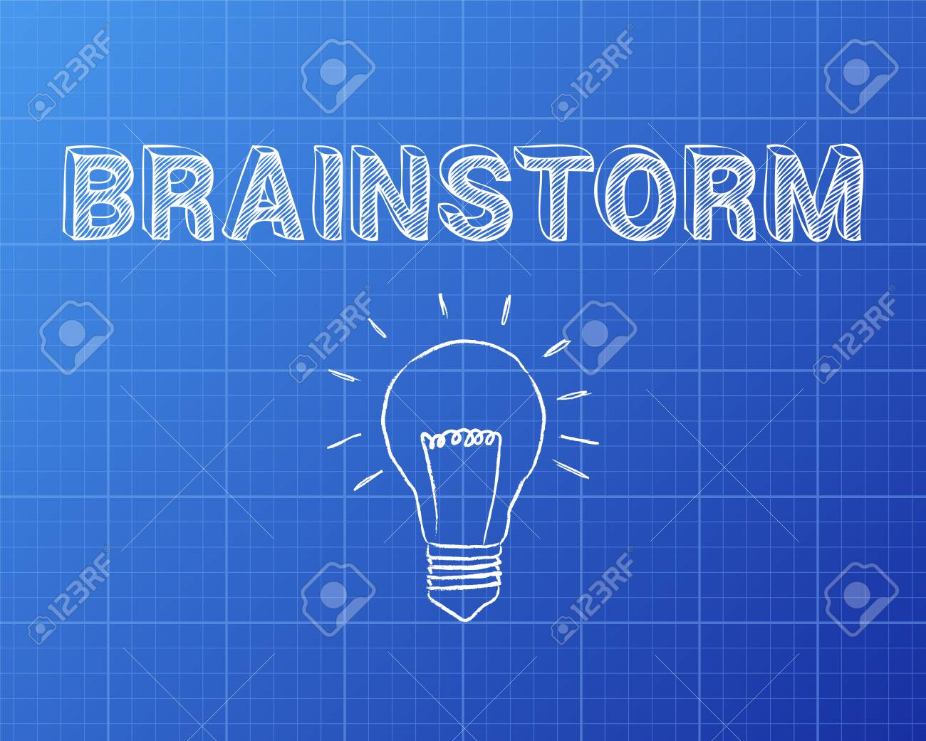 Hand drawn brainstorm sign and lightbulb on blueprint background hand drawn brainstorm sign and lightbulb on blueprint background foto de archivo 74632252 malvernweather Gallery