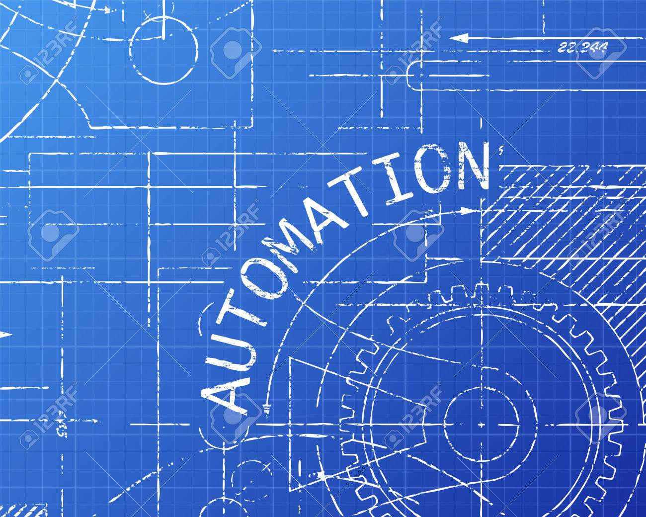 Automation text with gear wheels hand drawn on blueprint technical automation text with gear wheels hand drawn on blueprint technical drawing background stock vector 75018778 malvernweather Gallery