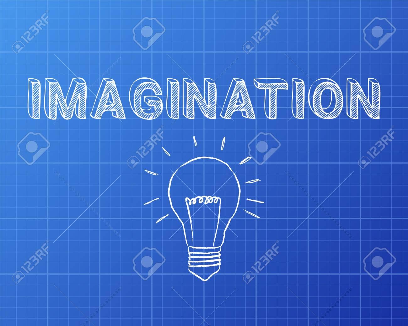 Hand drawn imagination sign and lightbulb on blueprint background hand drawn imagination sign and lightbulb on blueprint background stock vector 75197179 malvernweather Images