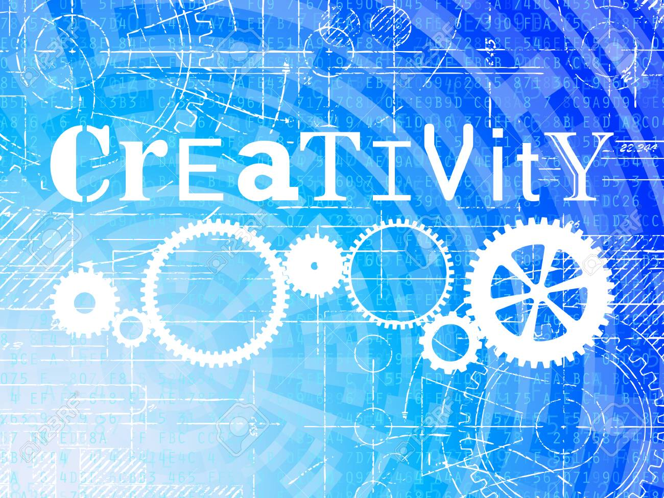 Creativity word on high tech blueprint and data background royalty creativity word on high tech blueprint and data background stock vector 75197217 malvernweather Gallery