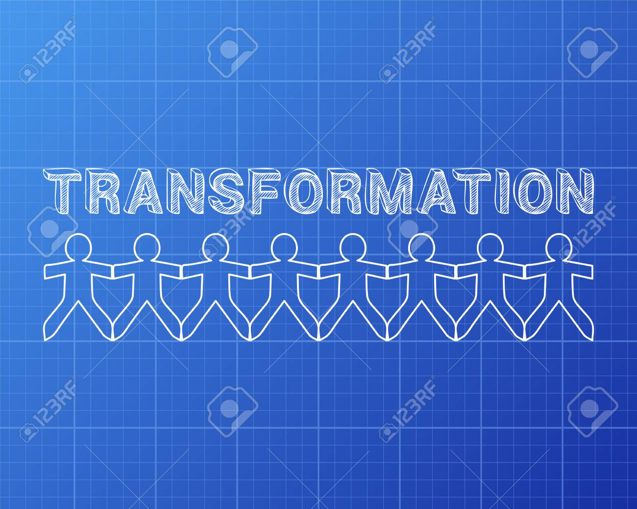 Transformation text hand drawn with paper people on blueprint transformation text hand drawn with paper people on blueprint background stock vector 75783075 malvernweather Choice Image