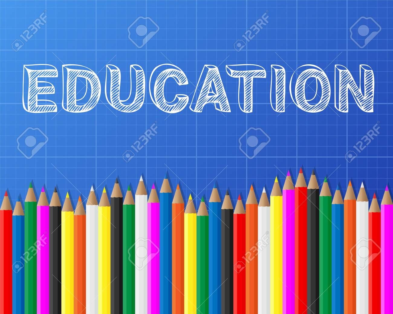 Education word on blueprint with pencils background royalty free education word on blueprint with pencils background stock vector 75784056 malvernweather Choice Image