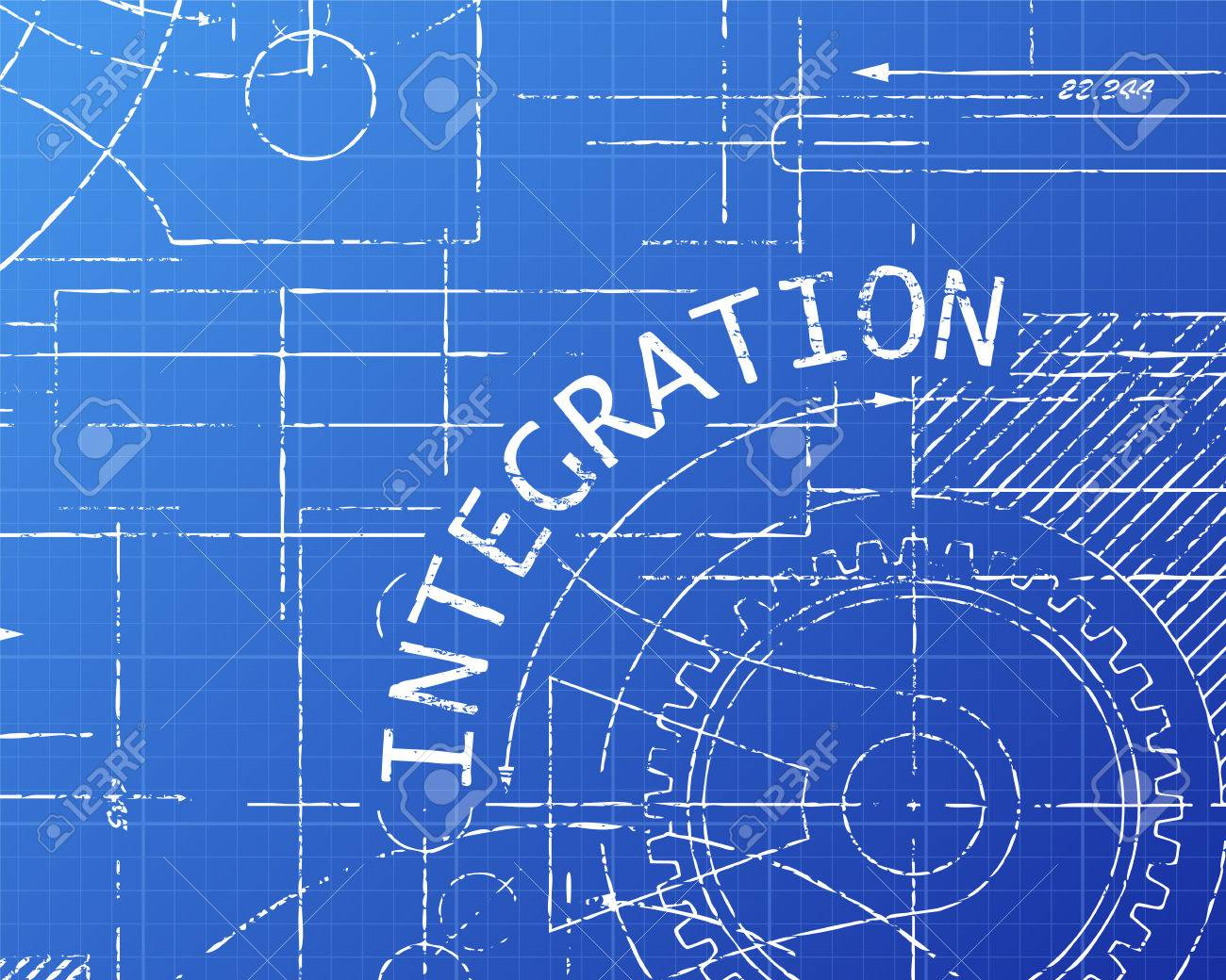 Integration text with gear wheels hand drawn on blueprint integration text with gear wheels hand drawn on blueprint technical drawing background stock vector 76947560 malvernweather Image collections