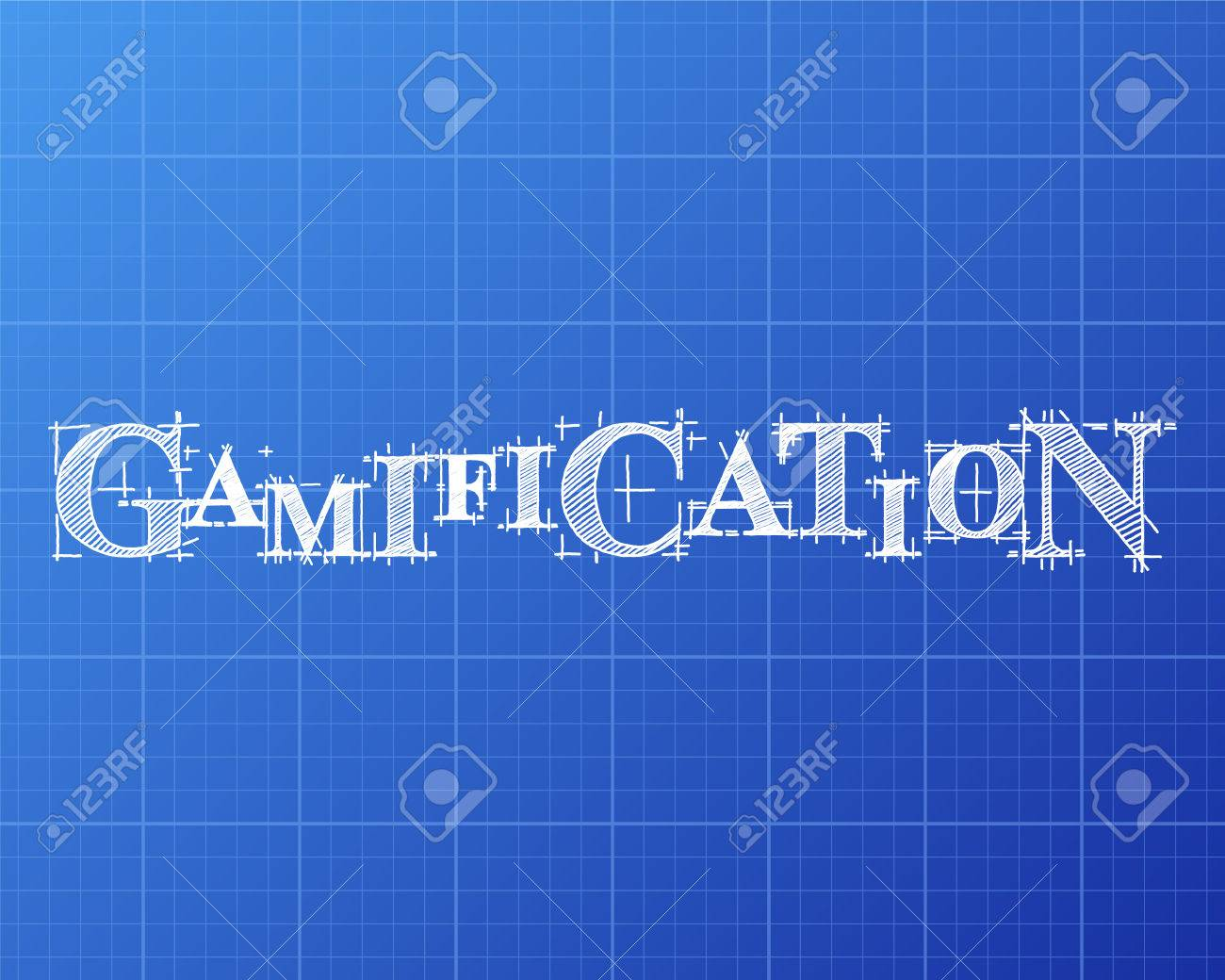Gamification Text Hand Drawn On Blueprint Background Stock Vector   77459419