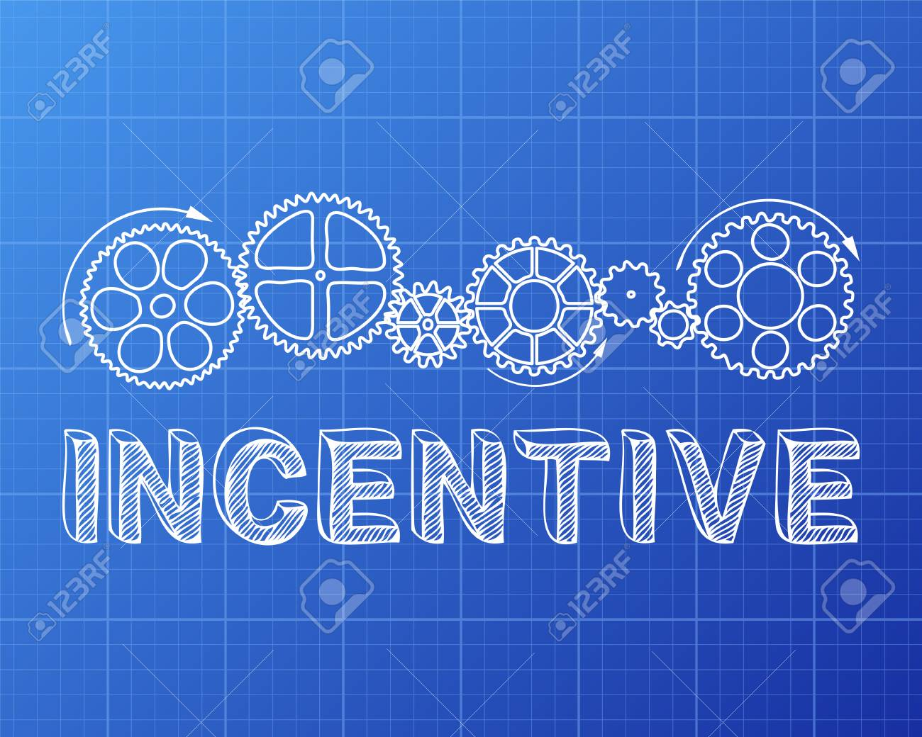 Incentive text with gear wheels hand drawn on blueprint background incentive text with gear wheels hand drawn on blueprint background stock vector 77755113 malvernweather Images