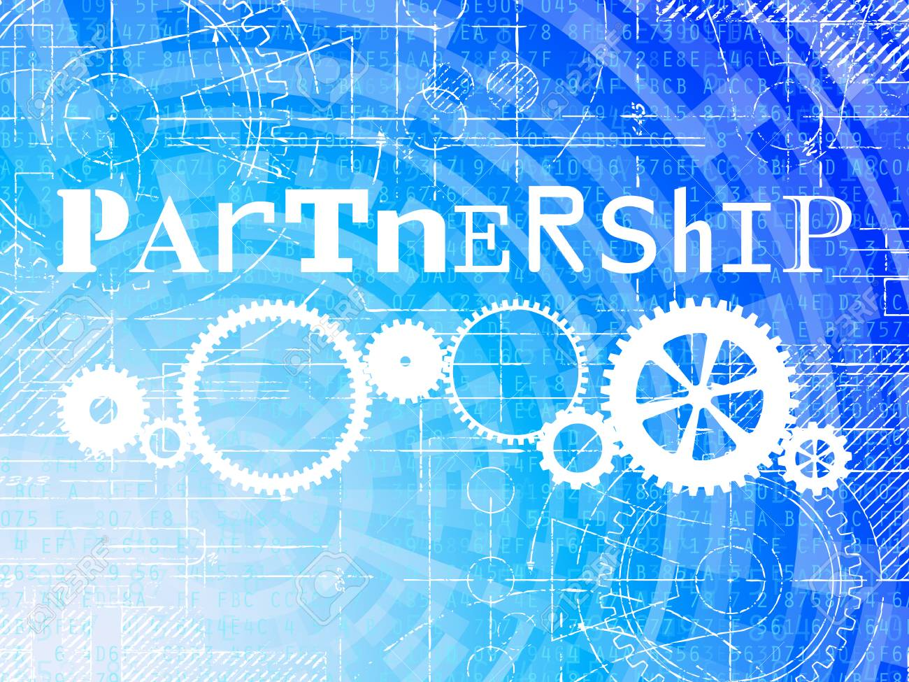 Partnership word on high tech blueprint and data background royalty partnership word on high tech blueprint and data background stock vector 77916128 malvernweather Gallery