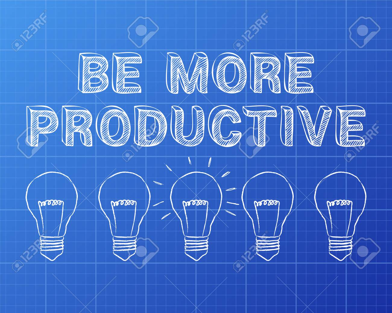 Hand drawn be more productive sign and light bulbs on blueprint hand drawn be more productive sign and light bulbs on blueprint background stock vector 77930788 malvernweather Images