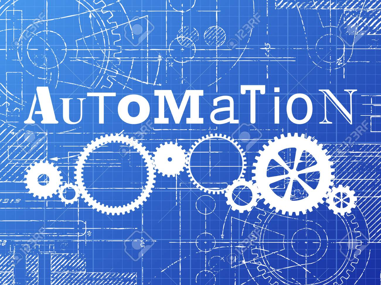 Automation sign and gear wheels technical drawing on blueprint automation sign and gear wheels technical drawing on blueprint background stock vector 77974100 malvernweather Image collections