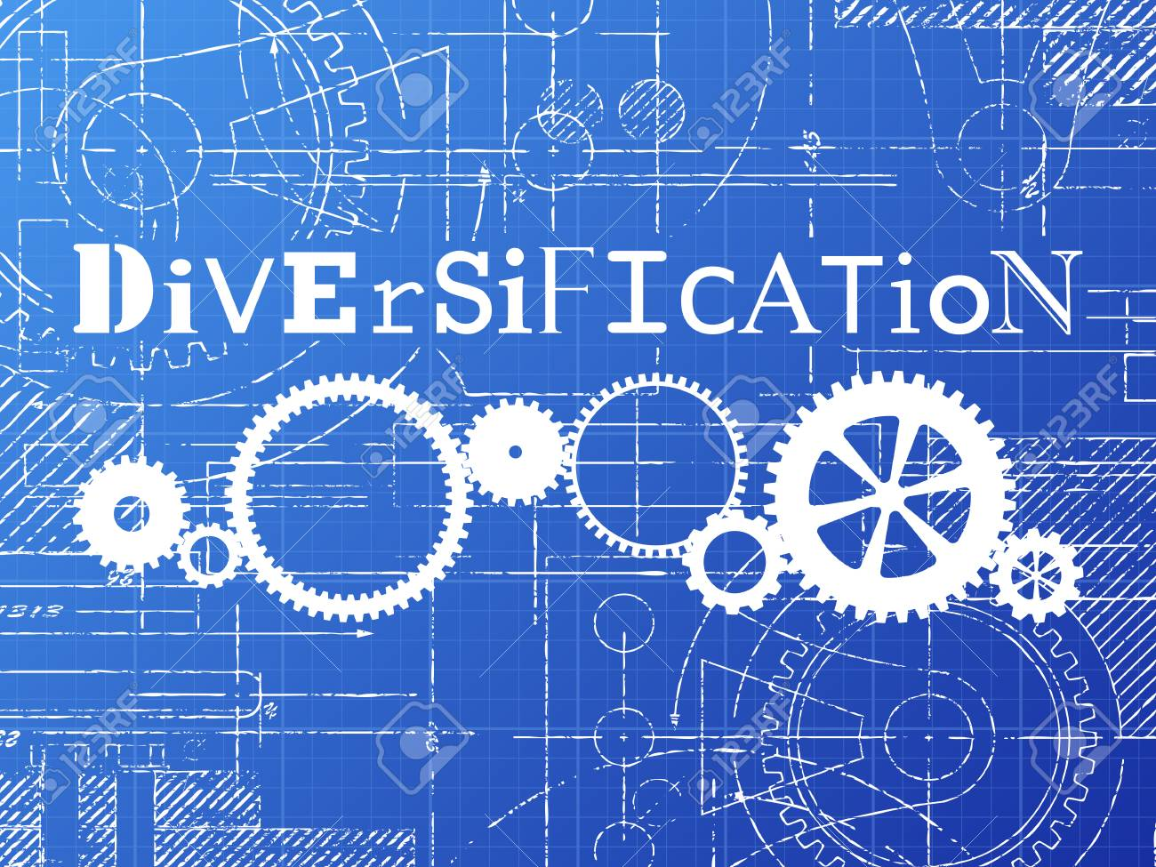 Diversification sign and gear wheels technical drawing on diversification sign and gear wheels technical drawing on blueprint background stock vector 78274166 malvernweather Image collections
