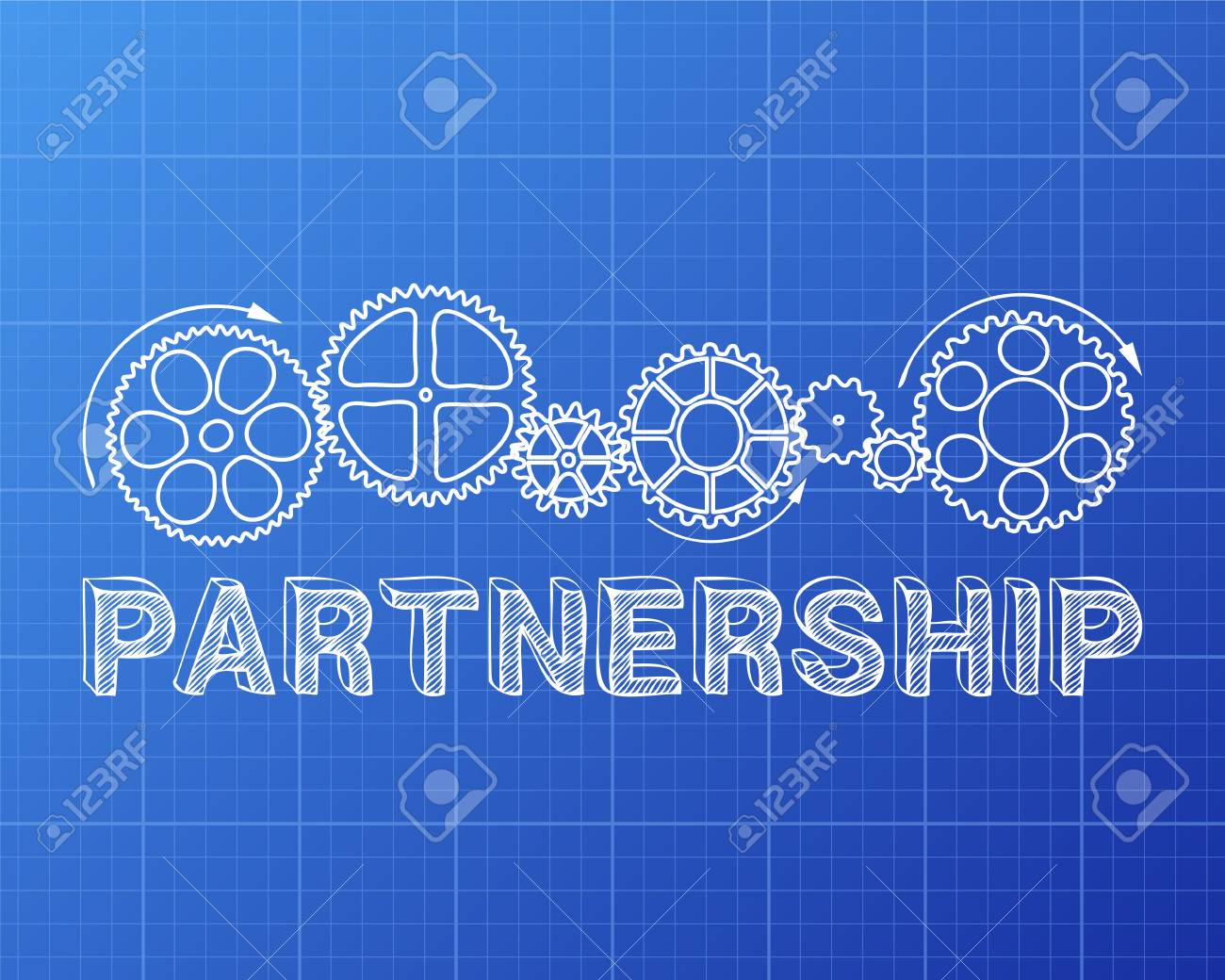 Partnership text with gear wheels hand drawn on blueprint background partnership text with gear wheels hand drawn on blueprint background stock vector 78614565 malvernweather Gallery