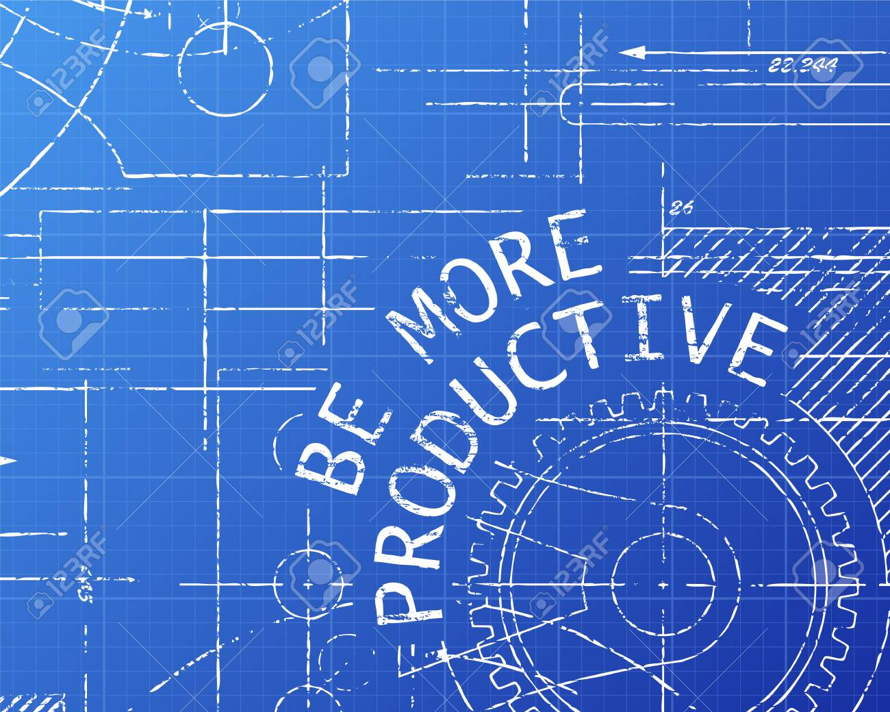 Be more productive text with gear wheels hand drawn on blueprint be more productive text with gear wheels hand drawn on blueprint technical drawing background stock vector malvernweather Gallery