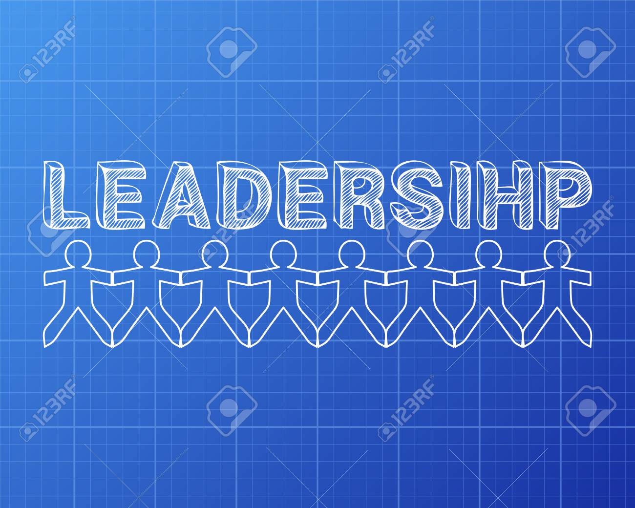 Leadership text hand drawn with paper people on blueprint background leadership text hand drawn with paper people on blueprint background stock vector 78767589 malvernweather Images