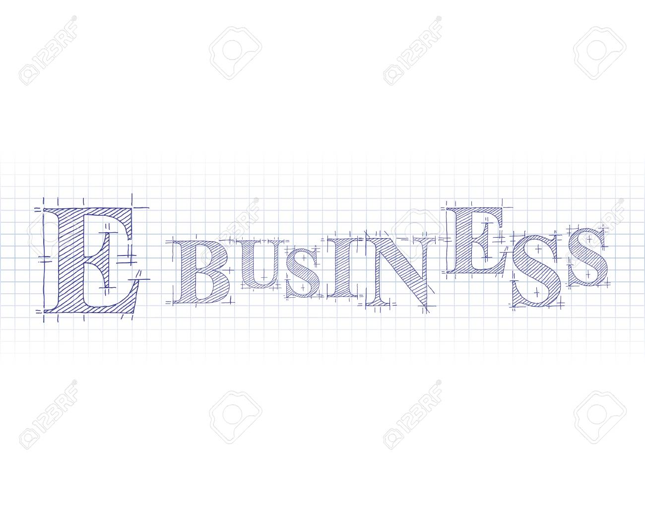 e business word in technical drawing on graph paper royalty free