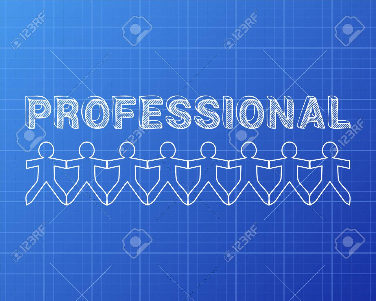 Professional text hand drawn with paper people on blueprint professional text hand drawn with paper people on blueprint background archivio fotografico 79824388 malvernweather Choice Image