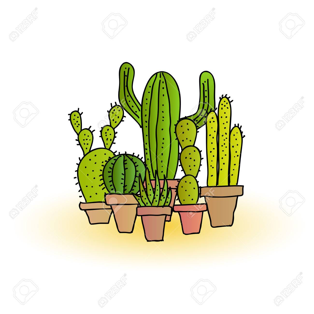 Collection of hand drawn cartoon cacti plants in plant pots