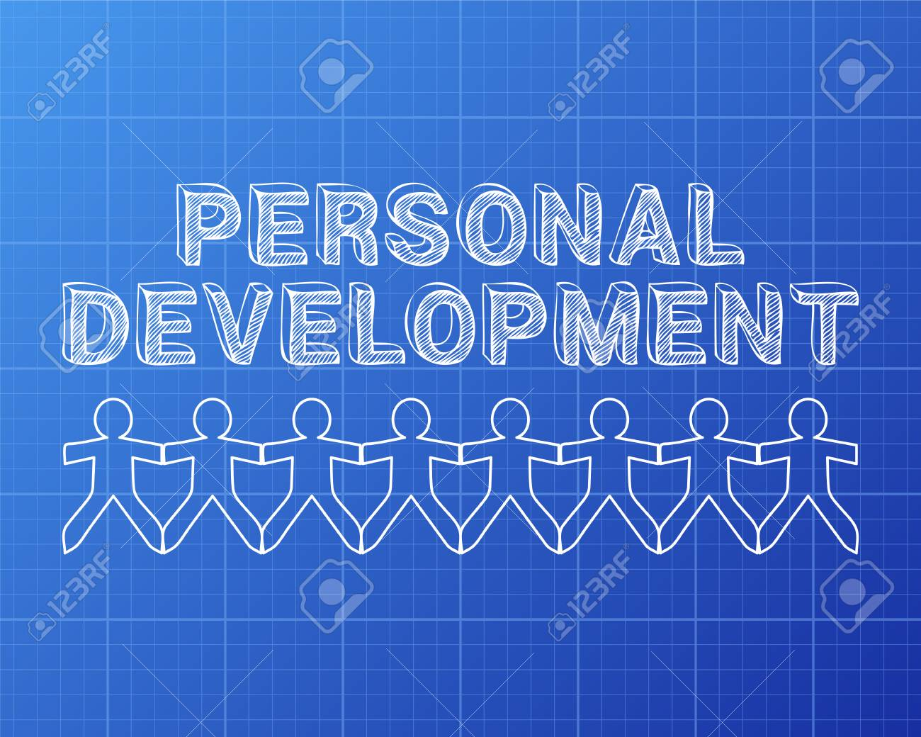Personal development text hand drawn with paper people on blueprint personal development text hand drawn with paper people on blueprint background stock vector 84918743 malvernweather Gallery