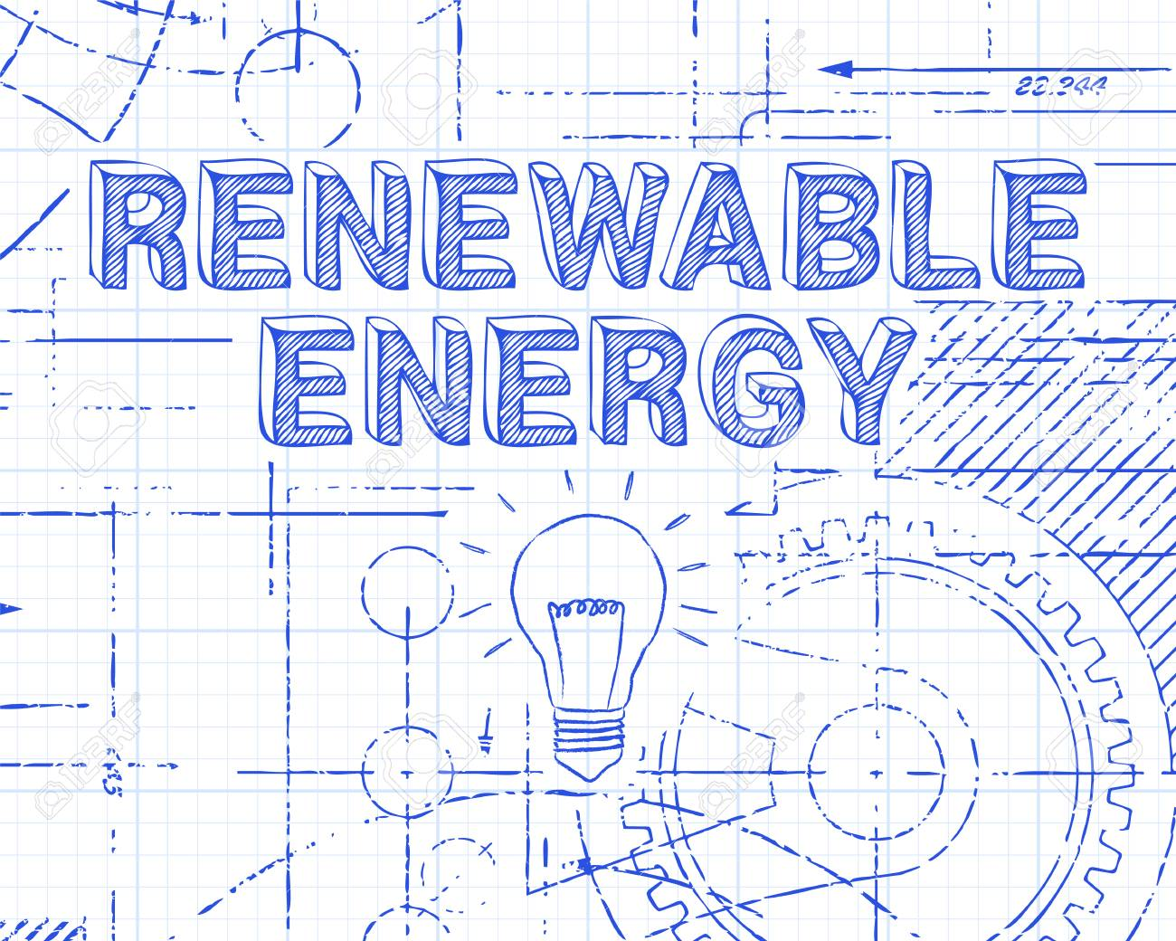 Hand Drawn Renewable Energy Sign And Light Bulb On Graph Paper Schematic Background Stock Vector 87527647