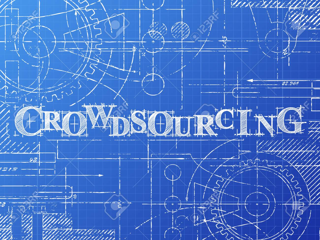 Crowdsourcing text with gear wheels hand drawn on blueprint crowdsourcing text with gear wheels hand drawn on blueprint technical drawing background stock vector 88356900 malvernweather Gallery