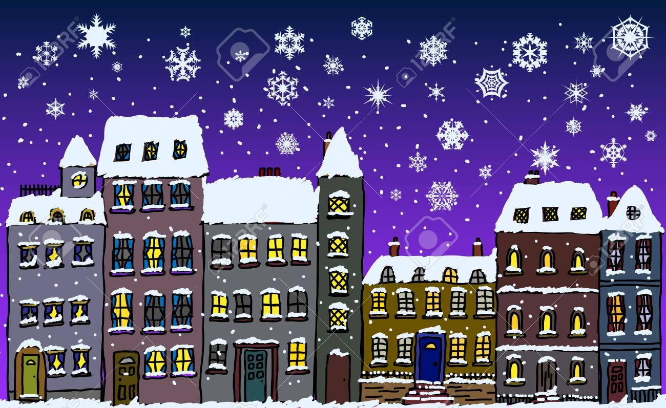 Banque dimages rue de style dessin animé de vieilles maisons de ville couvertes de neige avec des flocons de neige tombant la nuit