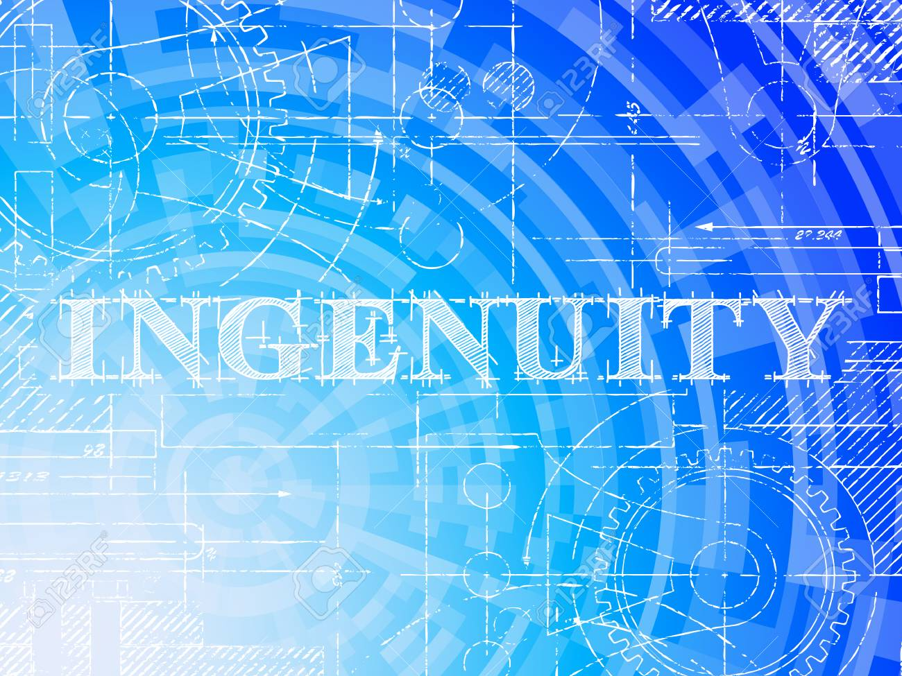 Ingenuity word on high tech blueprint and data background royalty ingenuity word on high tech blueprint and data background stock vector 93866137 malvernweather Gallery