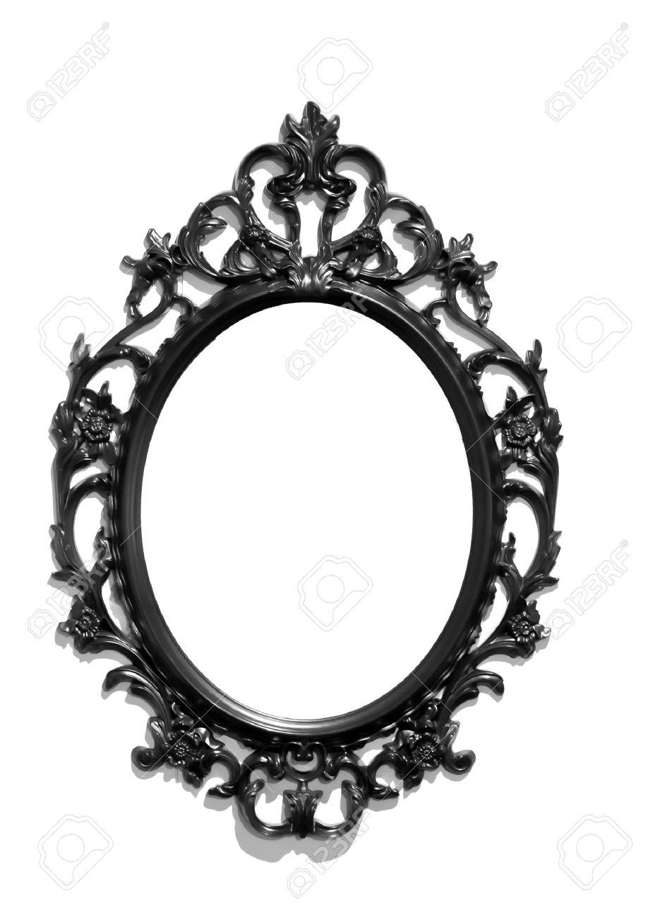 aislado negro victoriano marco del espejo clsico foto de archivo