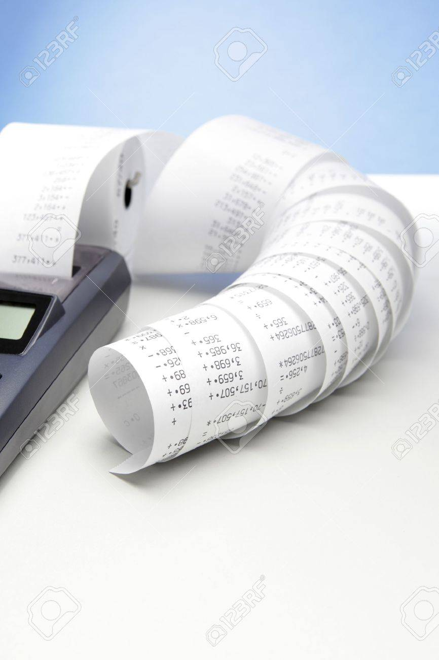 Desktop Calculator With Paper Roll Stock Photo, Picture And ...