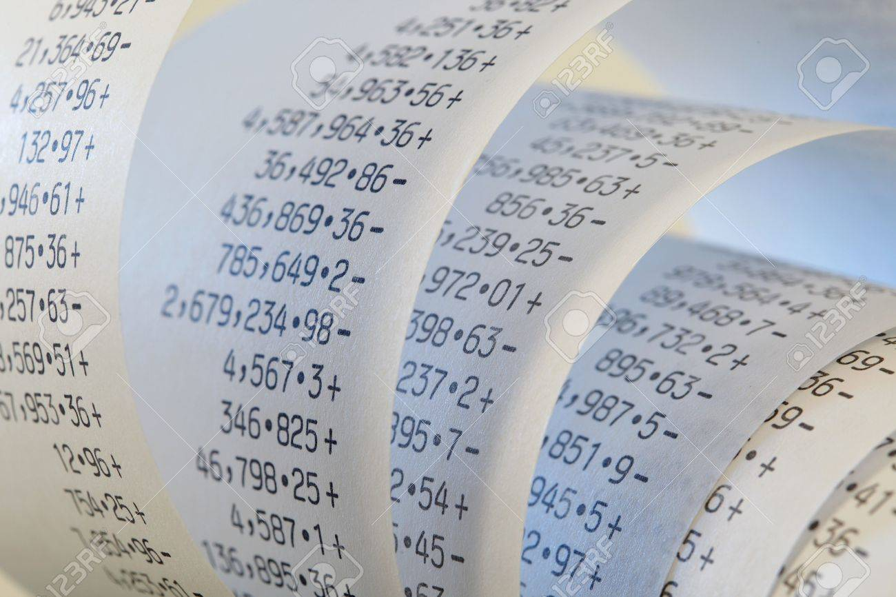 Calculator Paper Tape Rolled Up Stock Photo, Picture And Royalty ...