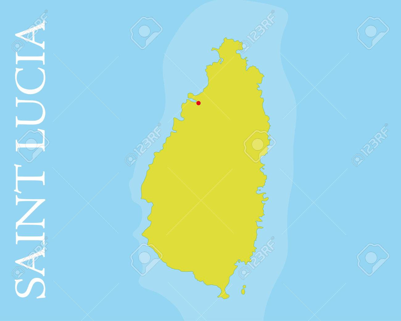 Vector map of Saint Lucia, Caribbean Sea Easily editable with..
