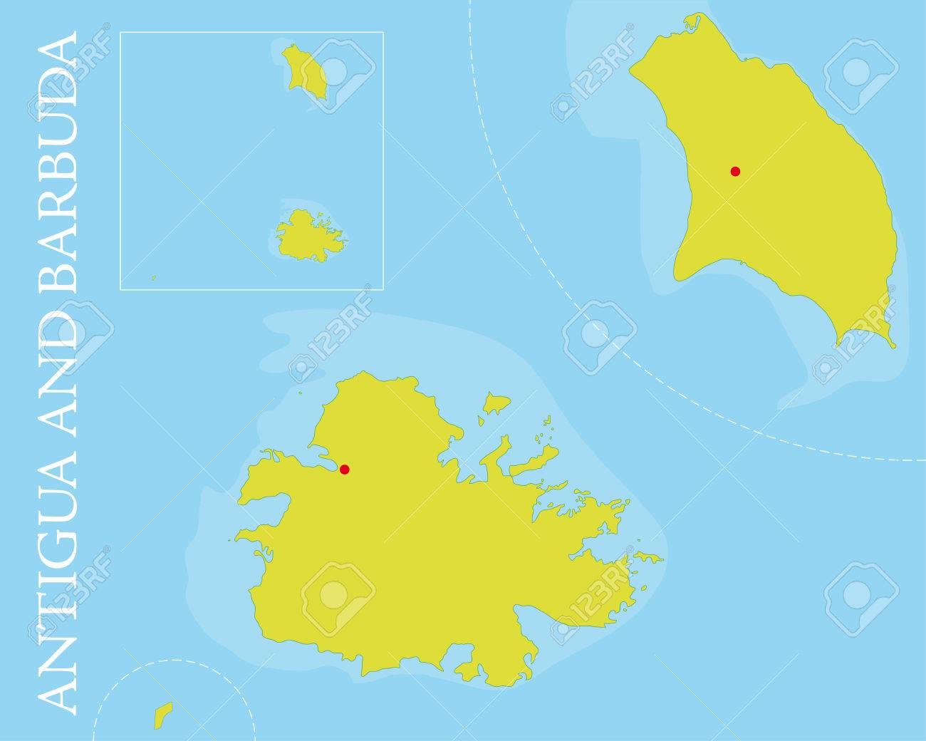 Vector Map Of Antigua And Barbuda Archipelago In The Caribbean - Antigua and barbuda map