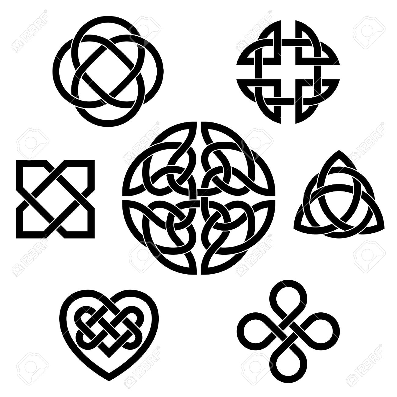Set Of Seven Traditional Celtic Infinity Knot Vector Elements