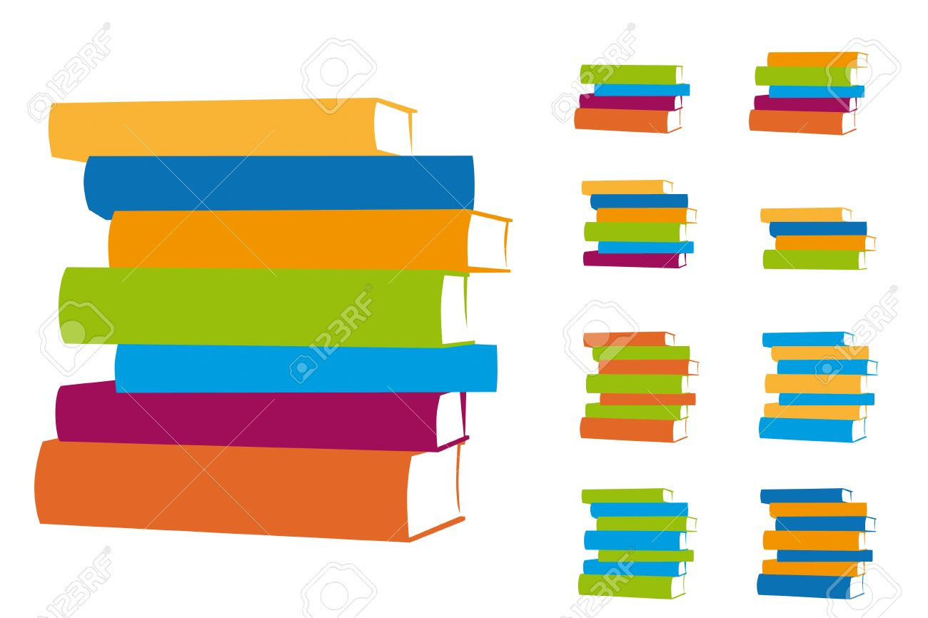 stacked books vector design elements set of multicolored book
