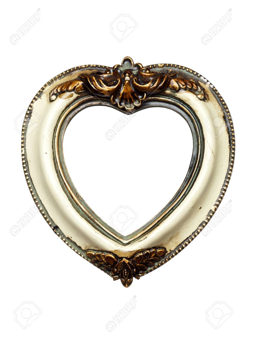 Heart Shaped Baroque Picture Frame Isolated On White Stock Photo ...