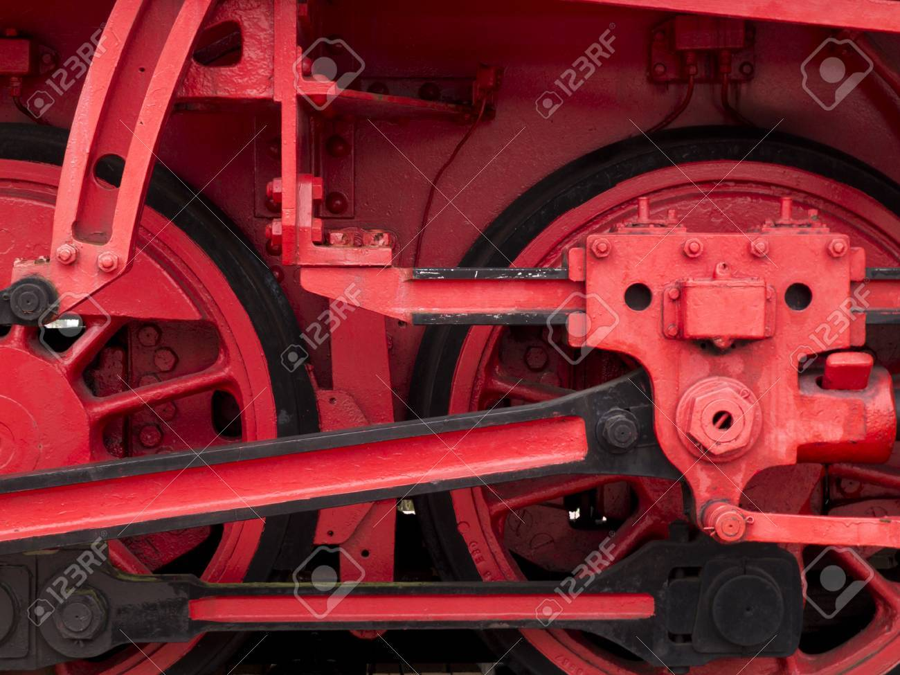 Wheels, Valve Gears And Rods Of Old Steam Locomotive Stock Photo ...