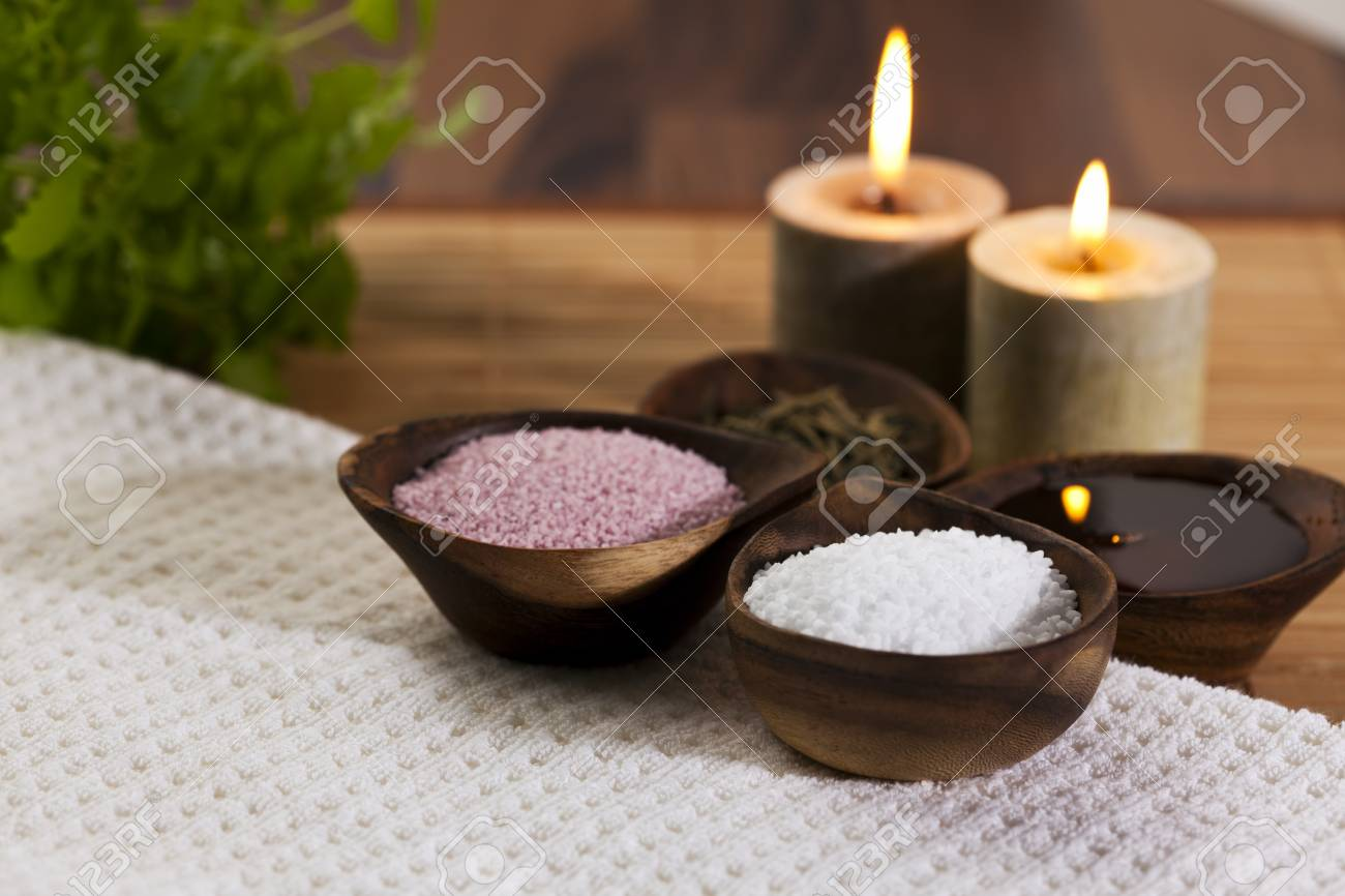 Organic Bath Ingredients At A Health Spa Stock Photo, Picture And ...