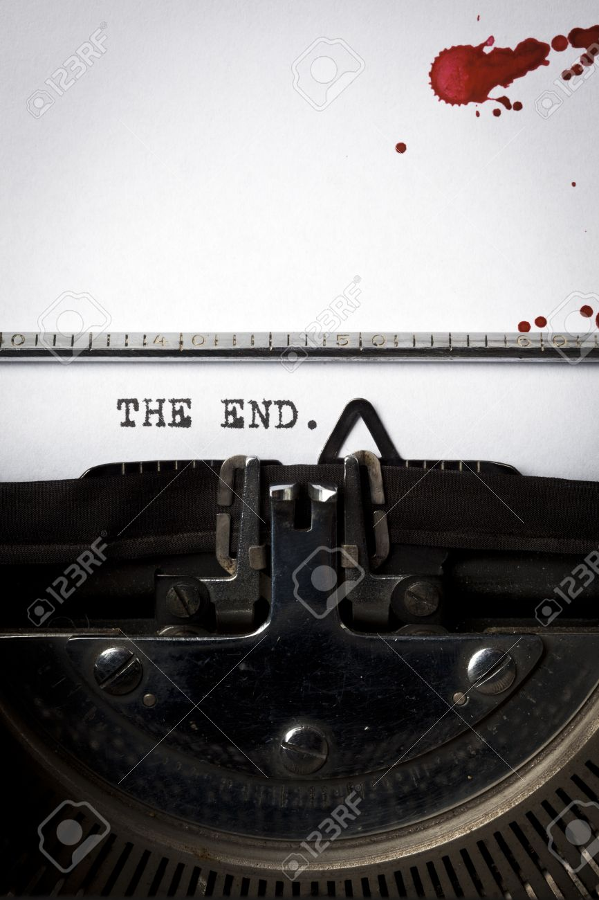 """Words """"The End"""" Written On Old Typewriter, Closeup, Blood Stains ..."""