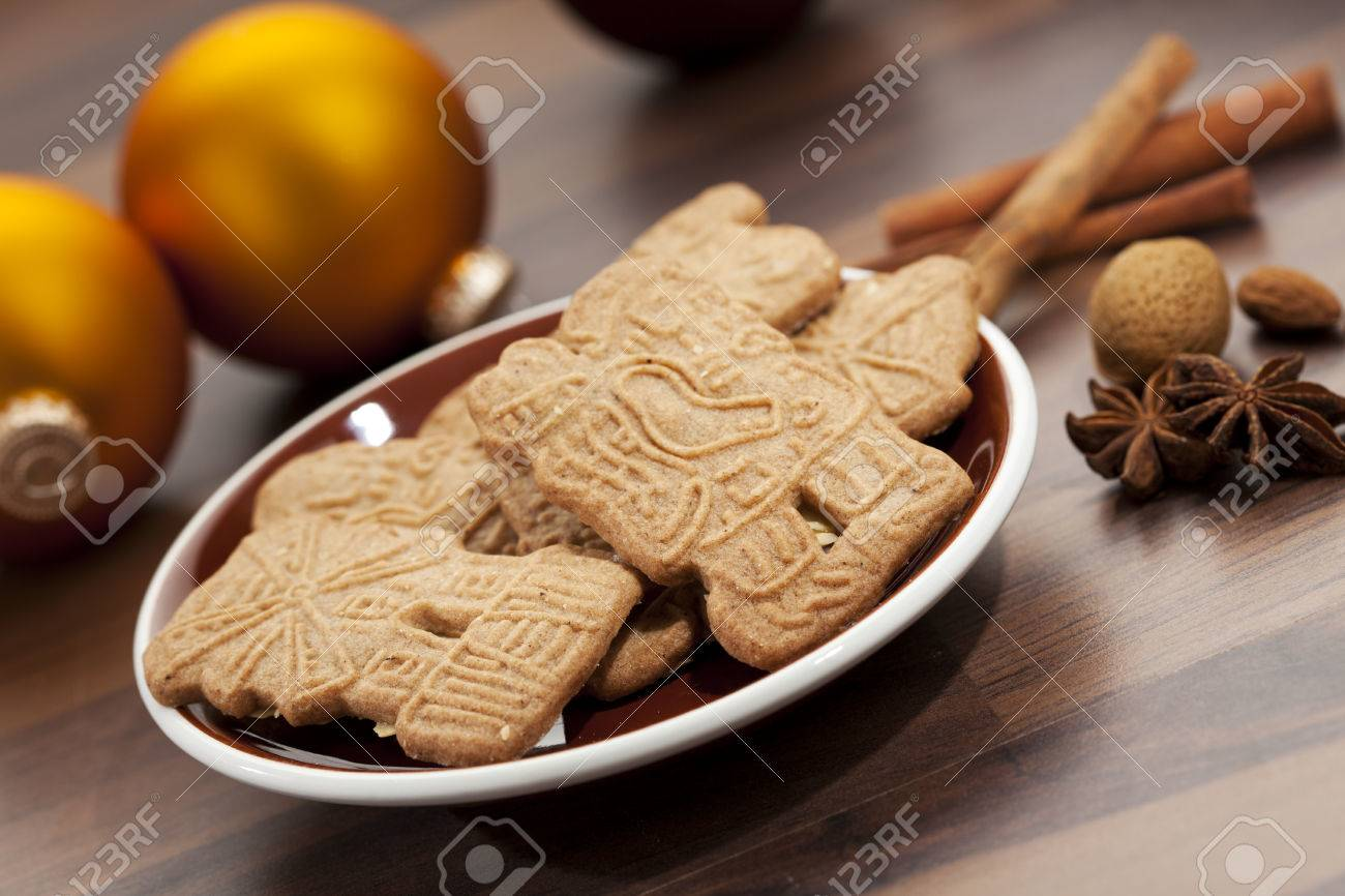 Dutch Speculaas Cookies Spices And Christmas Baubles