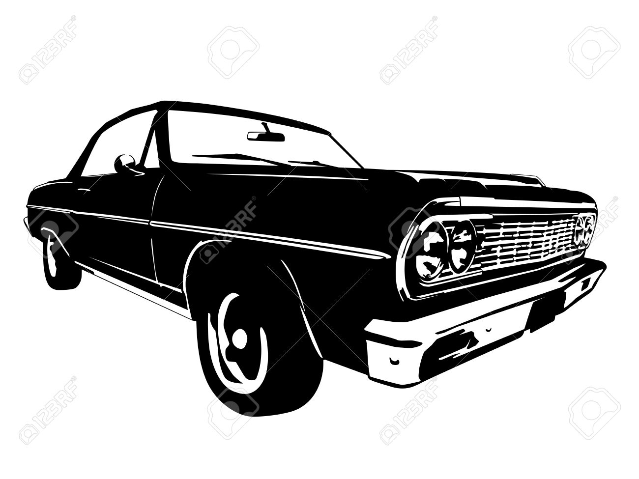 Vintage American Muscle Car Silhouette Royalty Free Cliparts