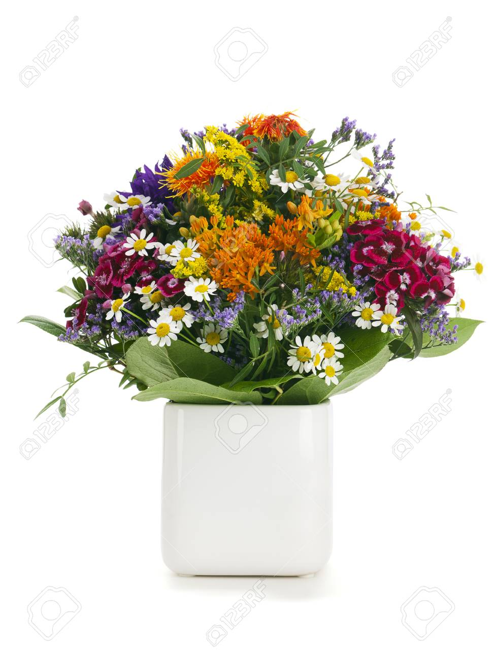 Variety Of Colorful Summer Flowers Arranged In A Vase Stock Photo ...