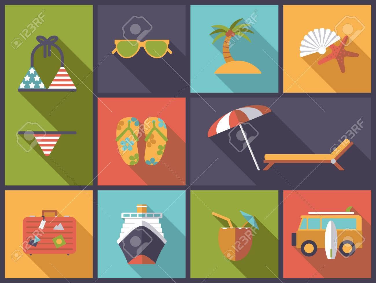 Horizontal flat design illustration with summer holidays and vacations symbols - 50506873