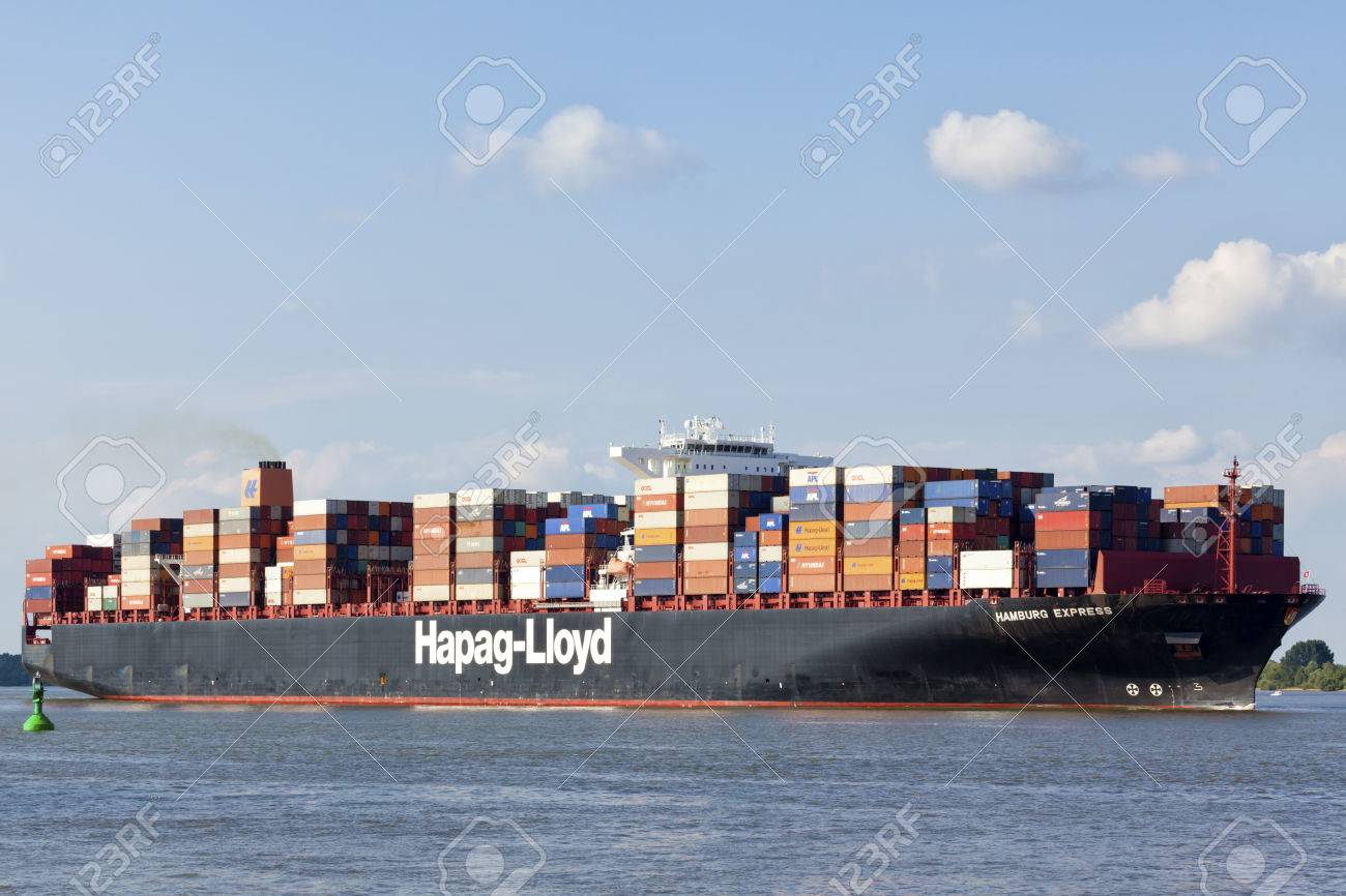 Stade, Germany - August 2, 2016: Container ship Hamburg Express