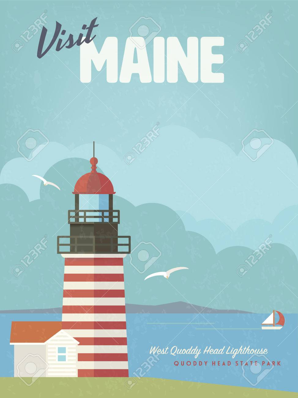 Retro maine holidays flat design poster or greeting card with retro maine holidays flat design poster or greeting card with west quoddy head lighthouse at cobscook kristyandbryce Choice Image